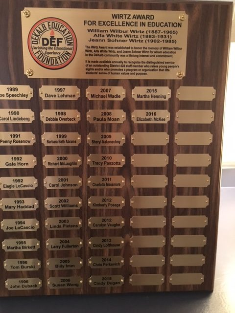 The Wirtz Award plaque, which lists all of the outstanding educators who have won the annual award since 1989.